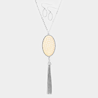 Filigree Oval Metal Drop Chain Tassel Long Necklace