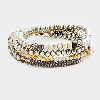 4Layers Multi Strand Shamballa Bar Accented Stretch Bracelet