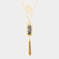 Stone Cluster Oval Metal Drop Chain Tassel Pendant Necklace
