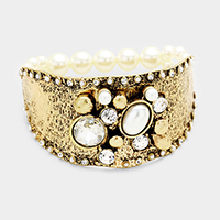 Embellished Bead Detail Pearl Beaded Stretch Bracelet