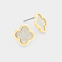 Bling Quatrefoil Clover Stud Earrings