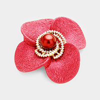 Swirl Pave Rhinestone Pearl Accented Flower Pin Brooch