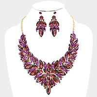 Marquise Leaf Cluster Flower Accented Evening Necklace