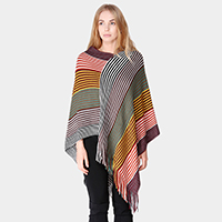 Multi Colored Stripes Tassel Fringe Poncho