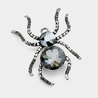 Pave Glass Crystal Spider Pin Brooch