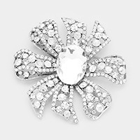 Pave Glass Crystal Flower Pin Brooch