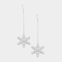 Drop Cubic Zirconia Snowflake Dangle Earrings