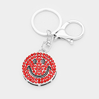 Pave Crystal Smile Emoji Key Chain