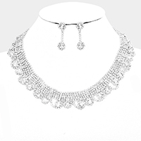 Draped Pave Crystal Rhinestone Collar Necklace