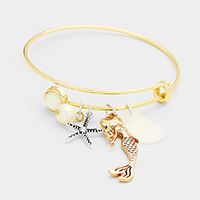 Metal Starfish Mermaid Charms Hook Bracelet