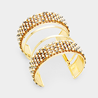 Stone Pearl Cluster Cut Out Cage Cuff Bracelet