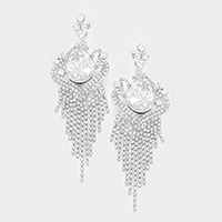 Oversized Teardrop Glass Pave Fringe Evening Earrings