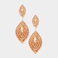 Oversized Pave Glass Double Oval Evening Earrings