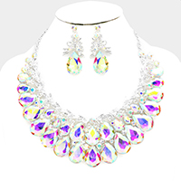 Marquise Teardrop Glass Crystal Cluster Evening Necklace
