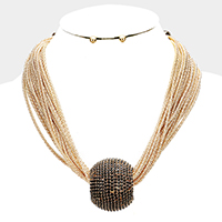 Layered Chain Pave Rhinestone Accented Necklace