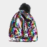 Reversible Sequin Faux Pom Pom Beanie Hat