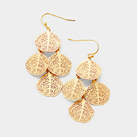 Filigree Metal Disc Cluster Dangle Earrings