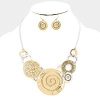 Swirl Geometric Metal Hoop Link Necklace
