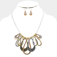 Antique Metal Teardrop Hoop Fringe Necklace