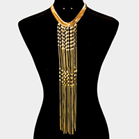 Long Drop Metal Chain Fringe Bib Necklace