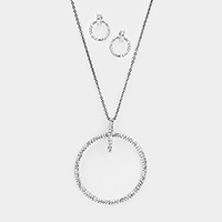 Pave Crystal Rhinestone Hoop Pendant Long Necklace