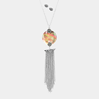 Abalone Disc Drop Chain Tassel Fringe Long Necklace