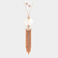 Mother of Pearl Disc Drop Chain Tassel Fringe Long Necklace