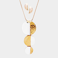 Triple Half Mother of Pearl Half Metal Disc Pendant Necklace