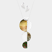 Triple Half Abalone Half Metal Disc Pendant Necklace