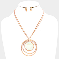 Mother of Pearl Accented Layered Metal Hoop Pendant Necklace