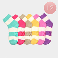 12Pairs - Striped Soft Warm Microfiber Fuzzy Socks