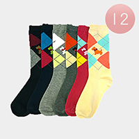 12Pairs - Plaid Check Cute Puppy Printed Socks