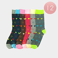 12Pairs - Heart Patterned Socks