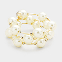 Pearl Metal Bar Wrapped Bracelet