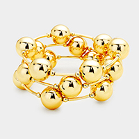 Metal Ball Metal Bar Wrapped Bracelet