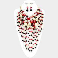 Pearl strand fringe bib necklace