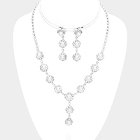 Floral Pave Crystal Rhinestone Pearl Necklace