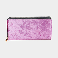 Solid Velvet Zipper Closure Wallet