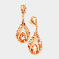 Crystal rhinestone teardrop clip on evening earrings