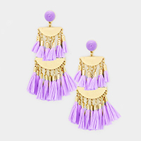 Oversized Raffia Tassel Fringe Chandelier Earrings