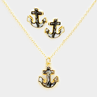 Anchor Celluloid Pendant Necklace