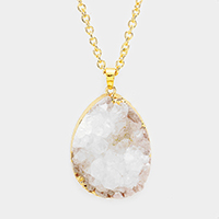 Teardrop Genuine Druzy Pendant Long Necklace