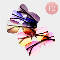 12PCS - Oversized Rimless Oceanic Color Lens Sunglasses
