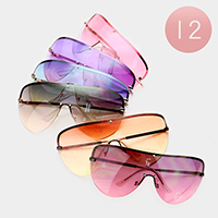 12PCS - Oversized Oceanic Color Lens Aviator Sunglasses
