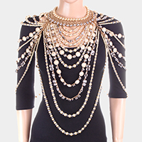 Draped Pearl Stone Shoulder Neck Body Chain Necklace