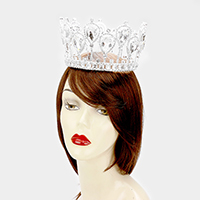 Glass Crystal Teardrop Pageant Queen Tiara