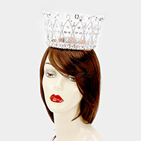 Pave Glass Crystal Pageant Queen Tiara