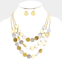 Layered Metal Disc Link Bib Necklace