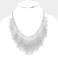 Draped Metal Ball Chain Statement Bib Necklace