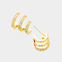 Genuine Gold Plated CZ Cut Out Cage Earrings